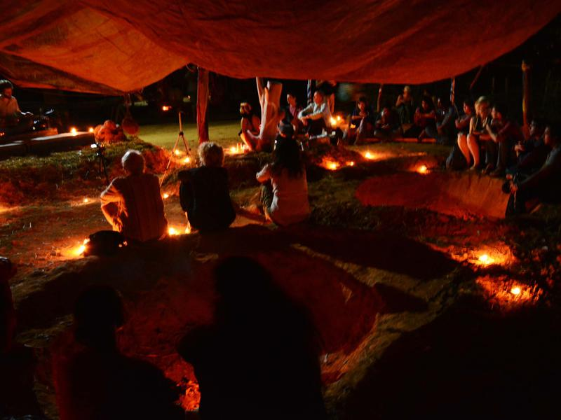 Photographer:Amal Ali | Sacred Groves, lit with oil lamps
