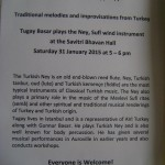 Savitri BhavanSaturday 31 January at 5pm Tugay plays ney