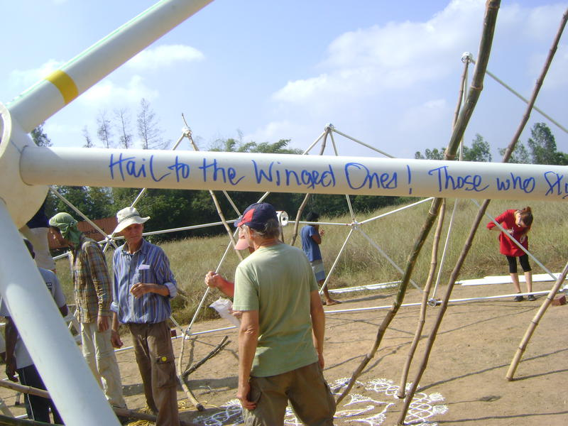 Photographer:Rhea | erecting geodesic dome structure of Sankalpa