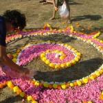 Elena creating mandala for the soil ceremony