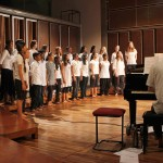 On piano Matt accompanying the Auroville Youth Choir