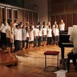On piano Matt accompanying the Auroville Youth Choir