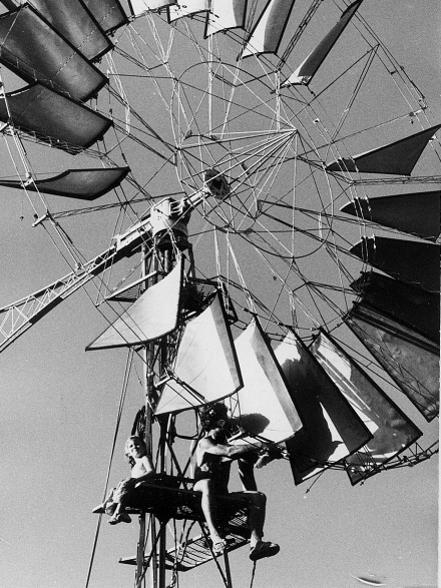 Photographer:Auroville Archives | A windmill in Auroville
