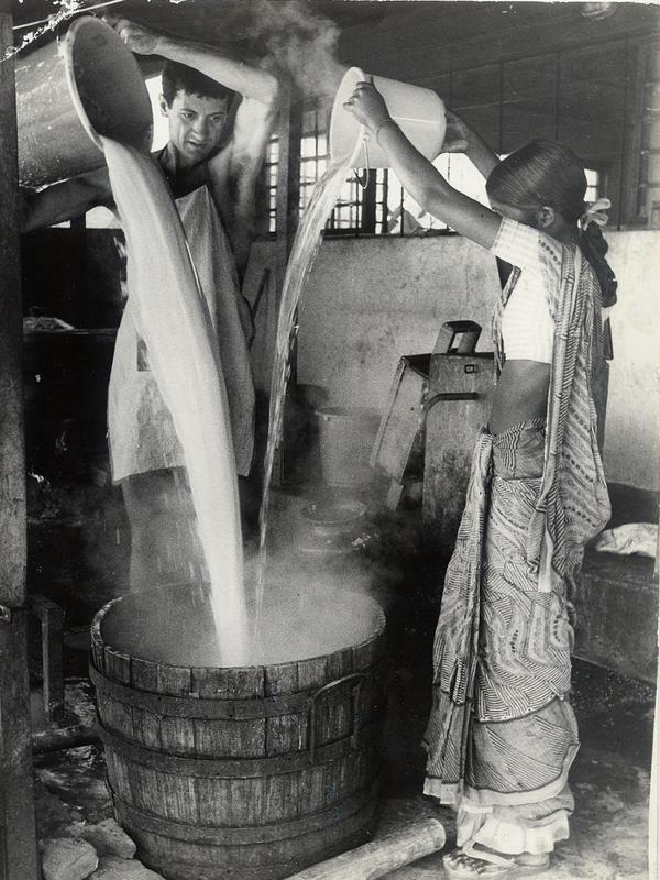 Photographer:Auroville Archives | Making Tofu