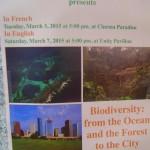 Talk on Biodiverstiy on Saturday at Unity Pavilion
