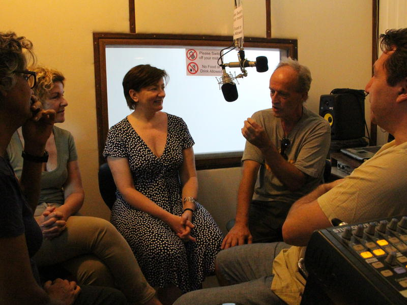 Photographer:Roland   From left: Christine Guinebretière, Anne de Béthencourt, Wazo and Eric Allodi