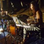 Carolina Calvaceh on piano and Karina Colis on drums