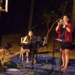 Kavitha Sarna  bass, Carolina Calvaceh piano, Nathali John trumpet