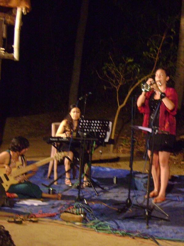 Photographer:Tabitha   Kavitha Sarna  bass, Carolina Calvaceh piano, Nathali John trumpet