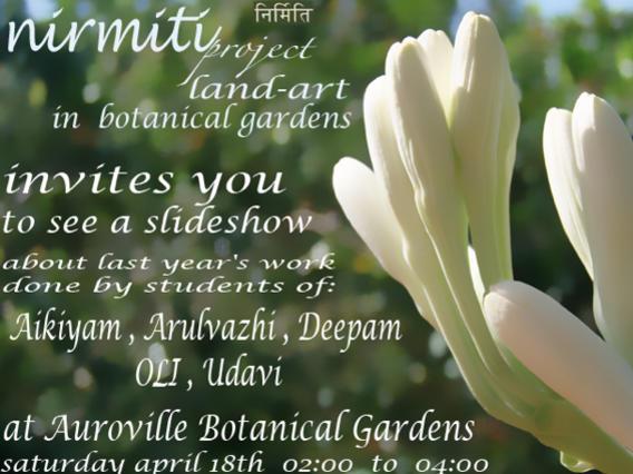 Photographer:web   Nirmiti project land art at Botanical Gardens  18th at 2pm