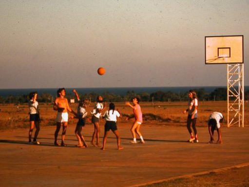 Photographer:Auroville Archives   Aspiration Basket ball court around 1975
