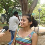 Tara interviewing a citizen of New Delhi