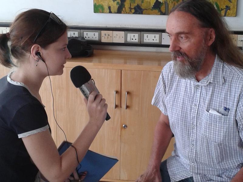 Photographer:Edo   Ananda being interviewed by Tara