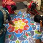 Creating a welcome Kolam