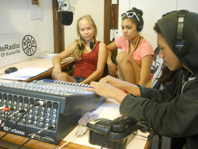 Photographer:Andrea | In the Auroville Radio studio