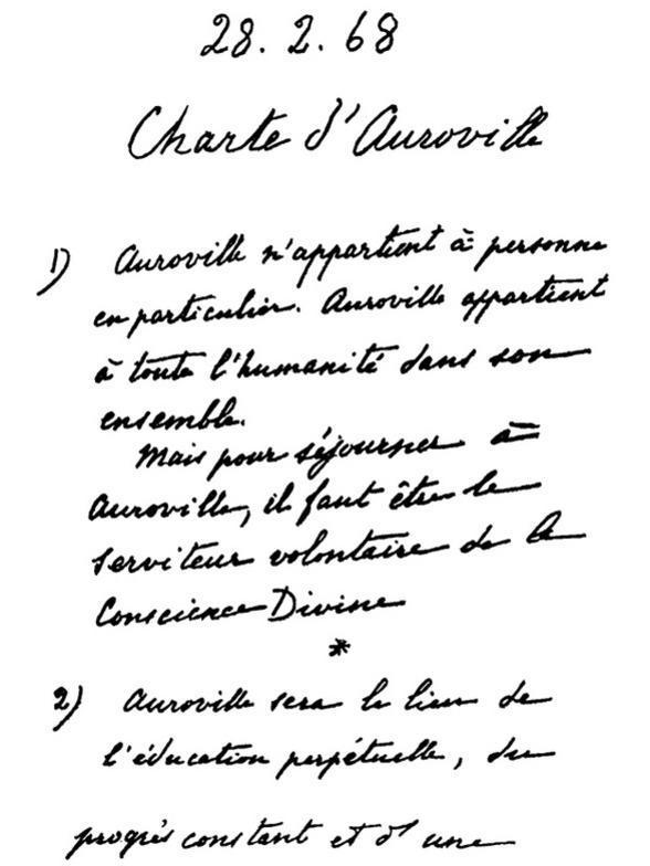 Photographer:Auroville Archives   Auroville Charter- Original