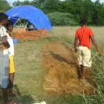 choldren from the village nearby have prepared the soil for seeds