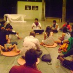 Drupad explaining about Mime Festival in Auroville