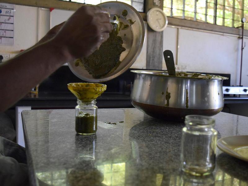 Photographer:Samira Bose | Bottling of the creamy pesto