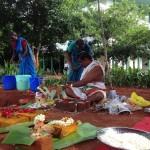 Preparing the Bhoomi Puja