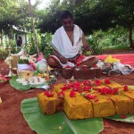 Performing the Bhoomi Puja