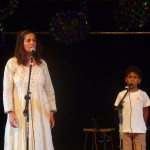 From left: Hamsini & Amar singing Mon Emouvante Amour