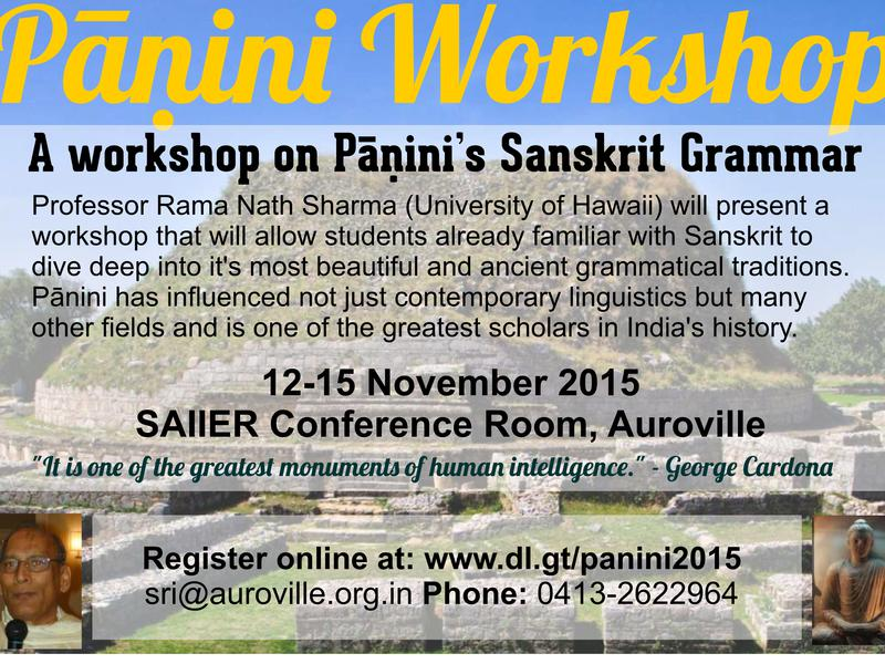 Photographer:Panini Workshop Poster | National Knowledge Network- Begins with Sanskrit!