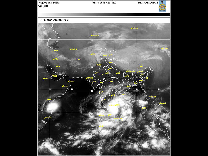 Photographer:India Meteorological Dept | Satellite image of the low pressure evolving in a cyclone