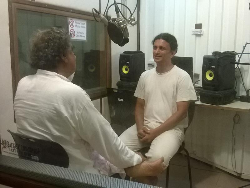 Photographer:Alma | Niranjan Goswami with Drupad in AV Radio Studio