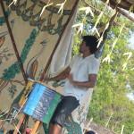 Playing tradional drum