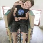 Tetrapack and papier mache chair