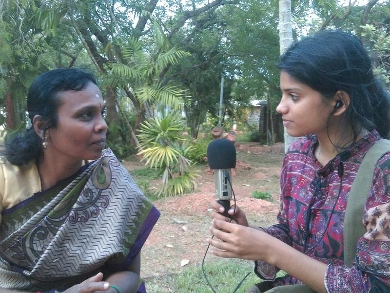 Photographer:Stephen Anurag P | Grace, Manager of the event being interviewd by Lulu for Auroville Radio
