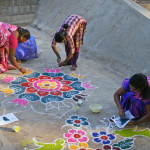 Land painting by the participants