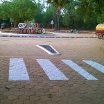 new roundabout at Solar Kitchen with art installation - towrds completition