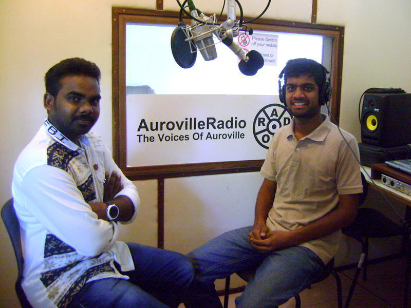 Photographer:Mariam | Stephen Anurag interviewing David at the Radio station, Auroville