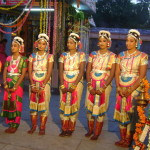 six girls of Auro Amsathvani  Group performing Baharta Natiyam Dance