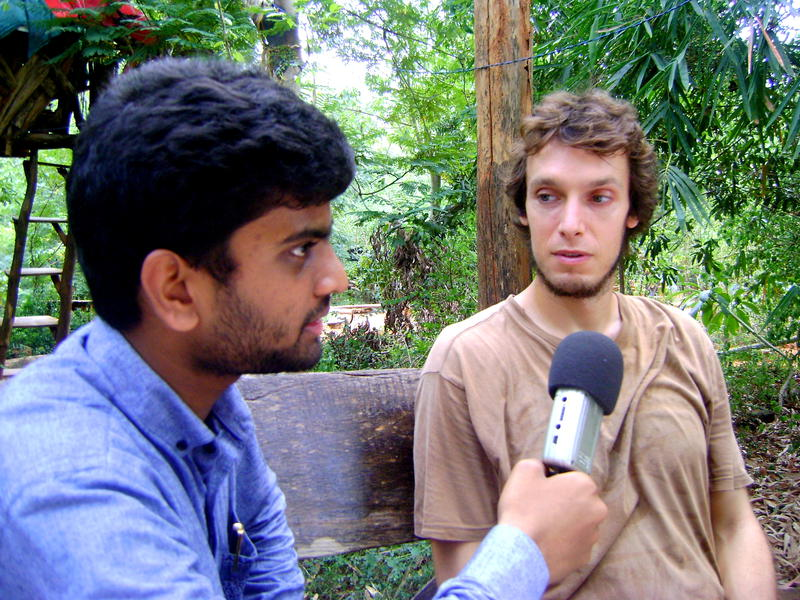 Photographer:David Dinakaran E | Josh, an American and a pre-new comer at Auroville giving his views on the Youth Centre