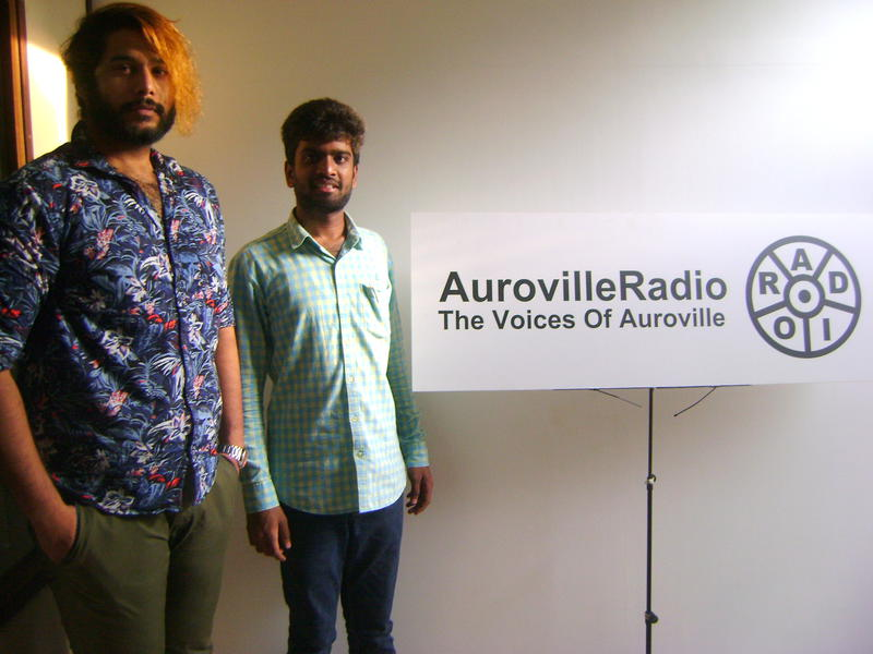 Photographer:team | Stephen and Sachin pose at the Auroville Radio station