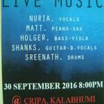 LIVE MUSIC , CRIPA, 30.9. at 8pm