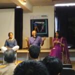 Left to Right-Krishna Devanandan,  Sadanand Menon and Tishani Doshi; panel discussion at Ignite Festival