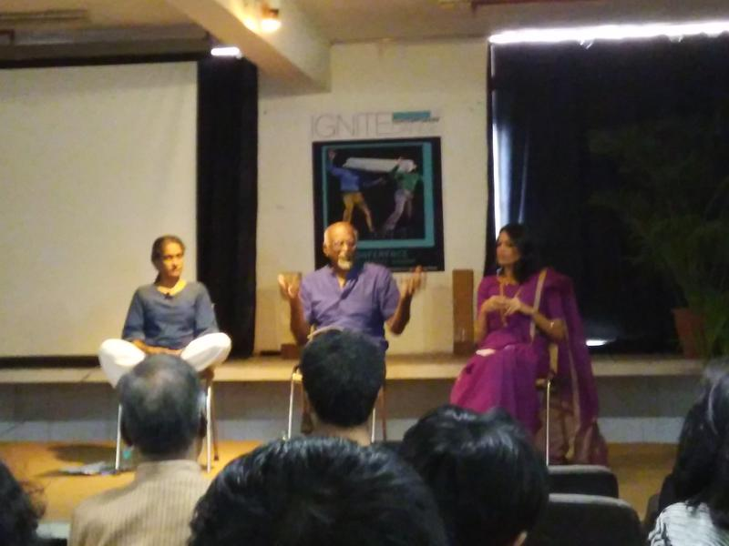 Photographer:www.IgniteDanceFestival.com   Left to Right-Krishna Devanandan,  Sadanand Menon and Tishani Doshi; panel discussion at Ignite Festival
