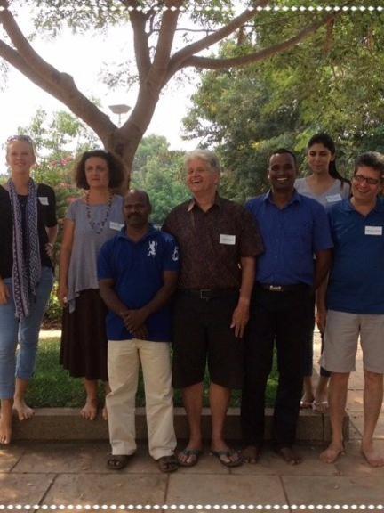 Photographer:Auroville RAS | Working Commetee (from left to right): Inge, Angela, Kumar, Carel, Ranjit, Mandakini, Hemant