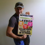 Jesse with poster of the Proskills Launch Event
