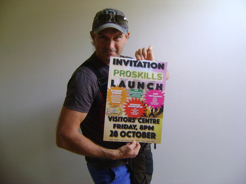 Photographer:Zinka | Jesse with poster of the Proskills Launch Event