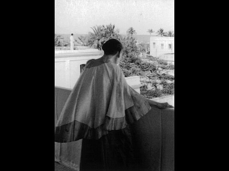 Photographer:Ashram Archives   Mother, Giving Terrace Darshan , 21/2/65