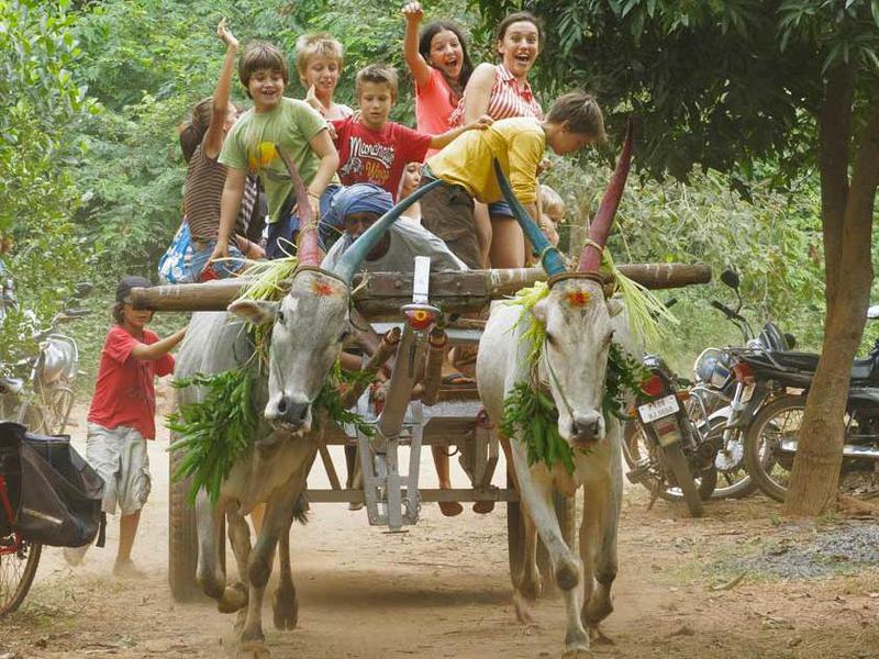 Photographer:web | Pongal bull cart with AV kids