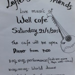Lefteris and Friends live music at Weel Cafe on Saturday 21st at 8pm