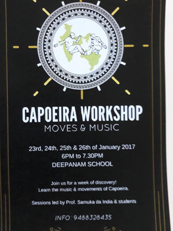 Photographer:Brina | Capoeria workshop for beginners to follow festival on 27,28,29th of Janaury at Deepanam