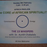 5th of February at 3pm @UP The Core of African Spirituality
