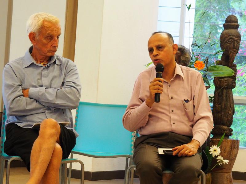 Photographer:Silke | Frederick and with the mike Mohan Verghese Chunkath, Auroville Foundation's Secretary